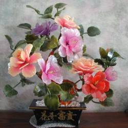 Hand carved real Jade flowers from southern China